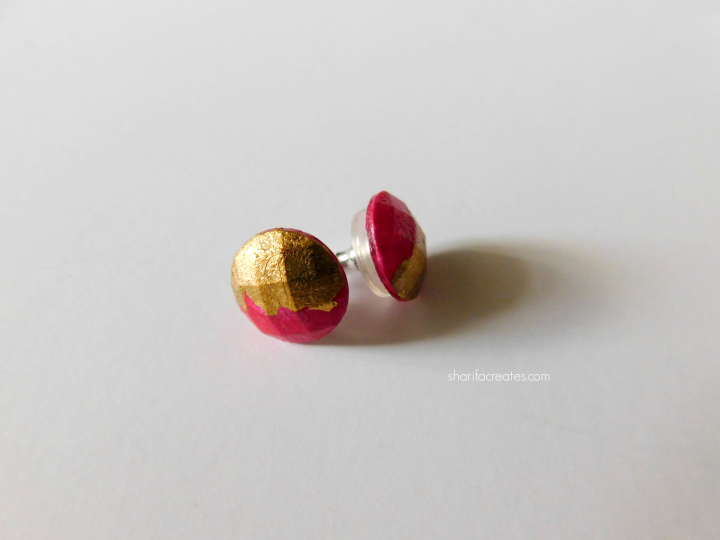 pink gold stud earrings