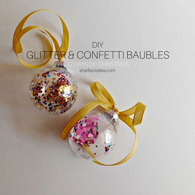 Diy glitter and confetti baubles sharifa creates diy bauble ornaments solutioingenieria Images