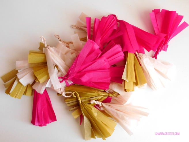 pink and gold tassels