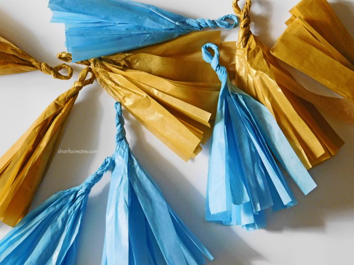 blue and gold tassels