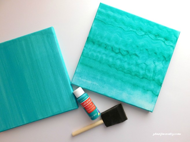 aqua painted canvas