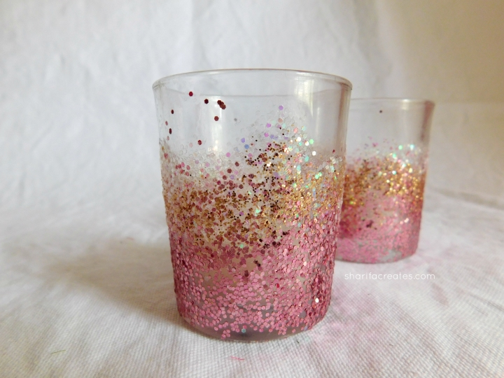 glitter votives diy