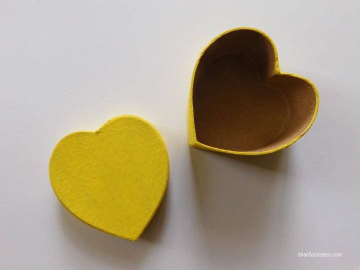 yellow heart shaped box
